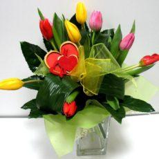 Bukiet 9 Kolorowych Tulipanów